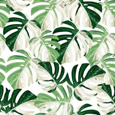 Väggdekor Tropic summer painting seamless pattern with exotic monstera leaves.
