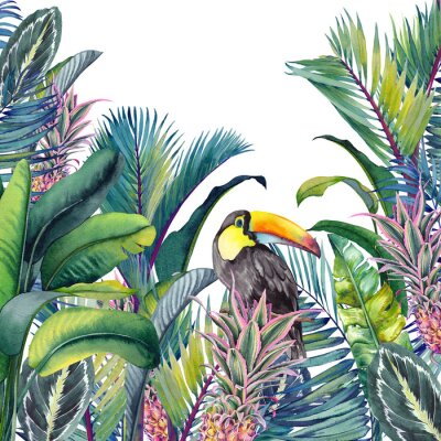 Väggdekor Tropical card with Toucan, palm trees, pineapples, banana and calathea leaves. Watercolor illustration on white background.