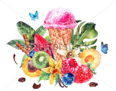 Väggdekor Tropical hand painting summer watercolor natural eco food background with fruits, soft Italian fruit ice cream, summer nature exotic sale card