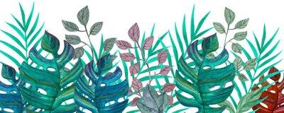 Väggdekor Tropical leaves. Watercolor drawing. Green color.