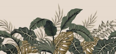 Väggdekor Tropical palm leaves, jungle leaves seamless vector floral pattern background.