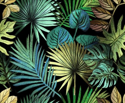 Väggdekor Tropical pattern painted with shiny paints.  rose gold tropical leafs