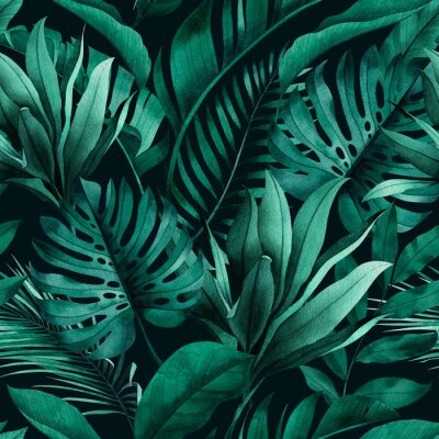 Väggdekor Tropical seamless pattern with exotic monstera, banana and palm leaves on dark background.
