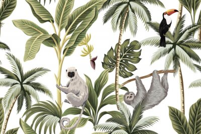 Väggdekor Tropical vintage animals, toucan, palm trees, banana tree floral seamless pattern white background. Exotic jungle wallpaper.