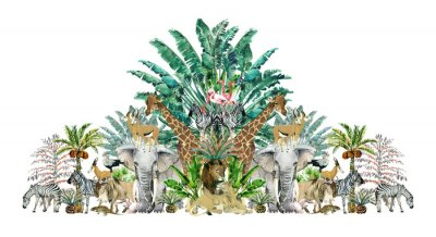 Väggdekor Tropical vintage botanical island. Watercolor border with safari animals and palm trees. Exotic jungle wallpaper.