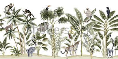Väggdekor Tropical vintage botanical landscape, palm tree, banana tree, plant, sloth, monkey, leopard, lemur, parrot, toucan floral seamless pattern white background. Exotic green jungle animal wallpaper.