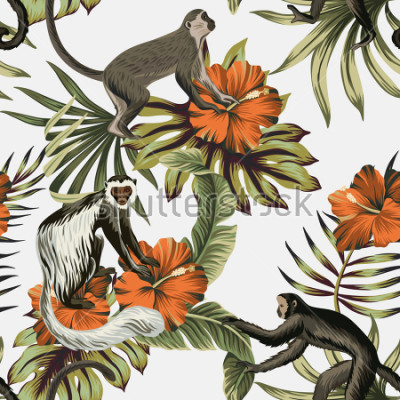 Väggdekor Tropical vintage monkey, red hibiscus flower, palm leaves floral seamless pattern white background. Exotic jungle wallpaper.