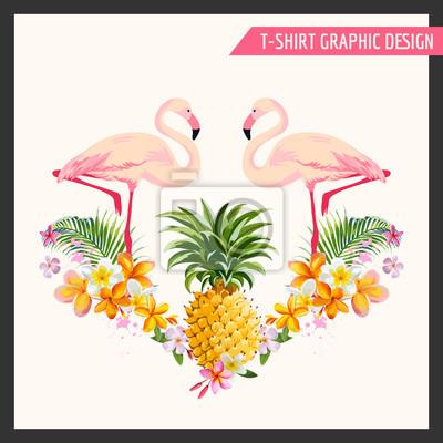 Väggdekor Tropiska blommor och Flamingo grafisk design - för t-shirt, mode