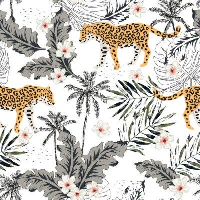 Väggdekor Tropiska leoparddjur, plumeriablommor, palmblad, träd, vit bakgrund. Vector sömlösa mönster. Grafisk illustration. Blommig design för sommarstrand. Exotiska djungelväxter. Paradisens natur