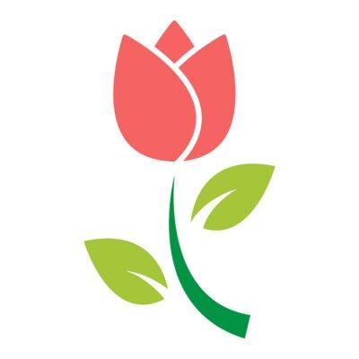 Väggdekor tulpan blomma ikon vektor