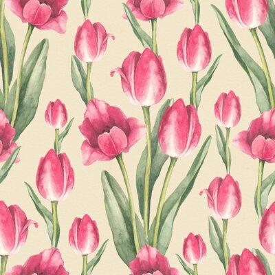 Väggdekor Tulpanblommor illustration. Akvarell sömlös mönster