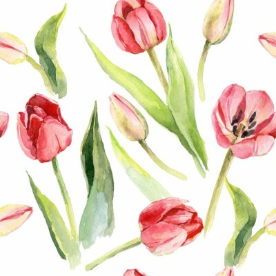 Väggdekor tulpaner blomma akvarell mönster illustration textiltryck