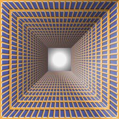 Väggdekor Tunnel med rutiga väggar. Abstrakt bakgrund med en optisk illusion av rörelse.