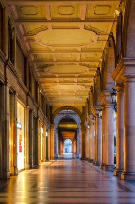 Väggdekor Turin (Torino), typiska arkader i den historiska gamla stadskärnan