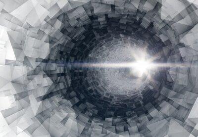 Väggdekor Turning 3d digital tunnel interiör med glödande änden