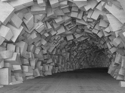 Väggdekor Turning betongtunnel interiör, 3d