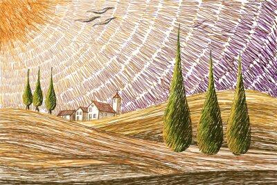 Väggdekor Tuscany landskap - digital målning koncept