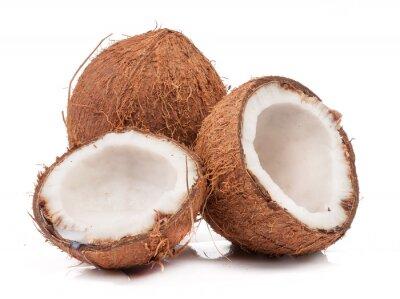 Väggdekor Två kokosnöt varav dela isolerade