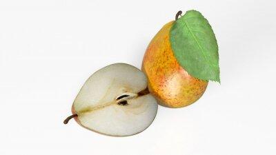 Väggdekor Två päron, en skivas i halv, frukt isolerade på vit bakgrund