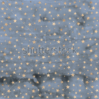 Väggdekor Twinkle star pattern in rose gold metallic foil overlaid on denim blue hand painted watercolor texture.