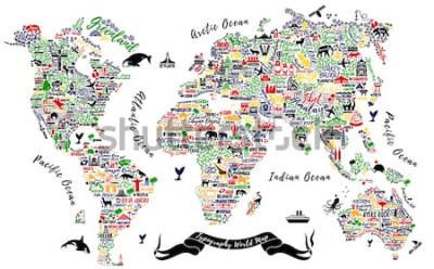 Väggdekor Typografi Världskarta. Travel Poster med städer och sevärdheter. Inspirerande Vektorillustration.