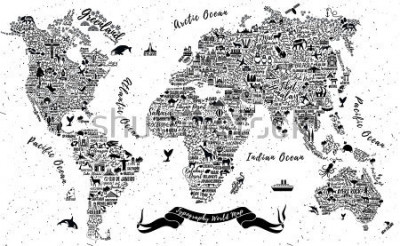 Väggdekor Typography World Map. Travel  Poster with cities and sightseeing attractions. Inspirational Vector Illustration.