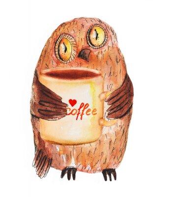 Väggdekor Uggla med kopp kaffe. Vattenfärg Hand ritning