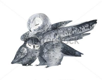 Väggdekor Uggla och en baby-akvarell teknik. Skogsdjur. Handmålad realistisk illustration isolerad på vit bakgrund. Mors dag kort handgjorda.