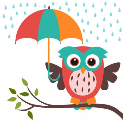 Väggdekor uggla och paraply regn