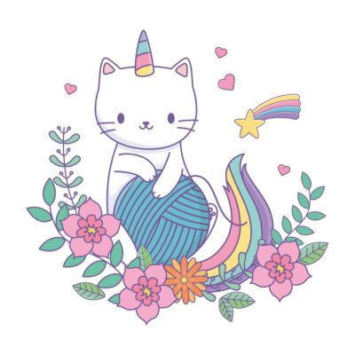 Väggdekor Unicorn cat cartoon vector design