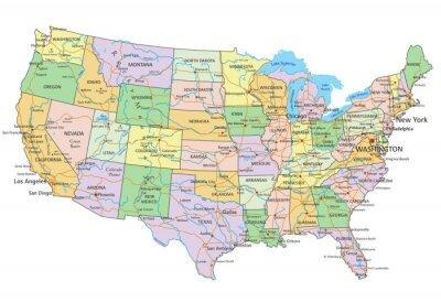 Väggdekor United States of America - Mycket detaljerade redigerbara politiska kartan med märkning.