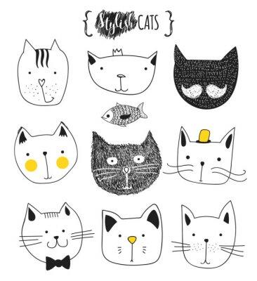 Väggdekor Uppsättning av gulliga klotter katter. Skiss katt. Cat skissar. Cat handgjorda. Skriv T-shirts för katten. Skriv för kläder. Ungar klotter djur. Eleganta mynnings katter. Isolerad katt. Sällskapsdjur