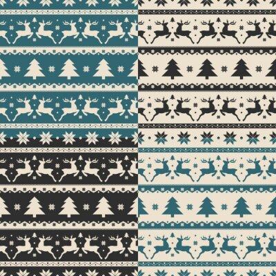 Väggdekor Uppsättning av jul och nyår sömlösa mönster