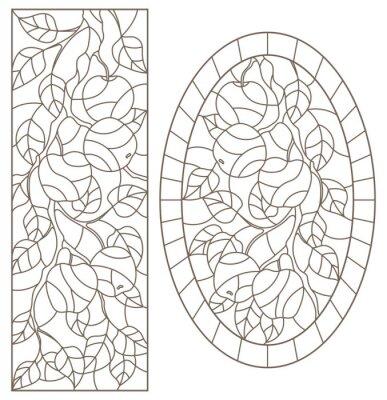 Väggdekor Uppsättning av konturillustrationer av målat glasfönster med trädgrenar, Apple trädgren, mörka konturer på vit bakgrund, rektangulära och ovala bilder