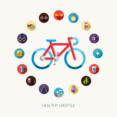 Väggdekor Uppsättning av platt design sport, fitness och hälsosam livsstil ikoner