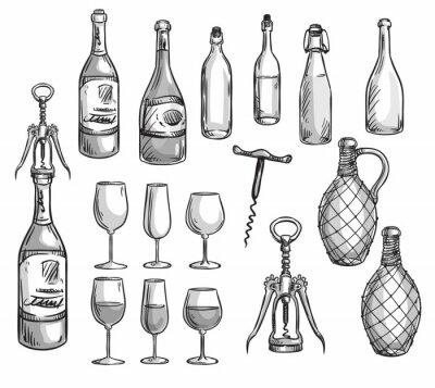 Väggdekor Uppsättning av vinflaskor, glasögon och korkskruvar