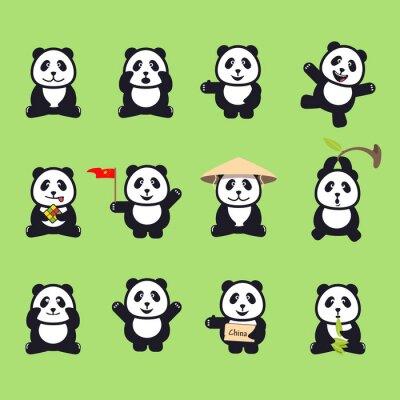 Väggdekor uppsättning gulliga roliga tecknad pandor. vektor