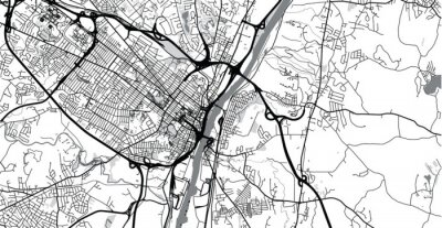 Väggdekor Urban vector city map of Albany, USA. New York state capital