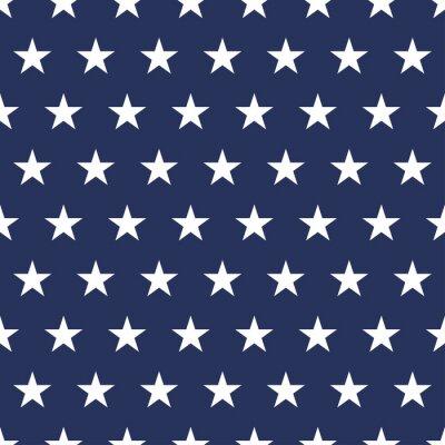 Väggdekor USA flag seamless pattern. White stars on a blue background. Memorial day