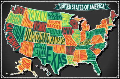 Väggdekor USA Karta Vintage Blackboard 2D