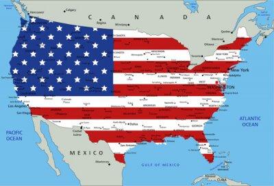 Väggdekor USA mycket detaljerade kartan politisk med flagga.