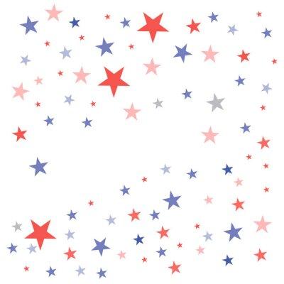 Väggdekor USA Patriotisk bakgrund i flaggfärger med bleka dumma stjärnor spridda på en vit bakgrund
