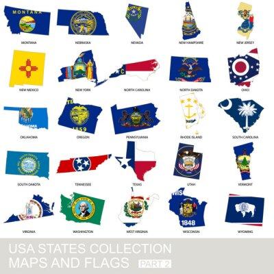 Väggdekor USA statliga samling, kartor och flaggor