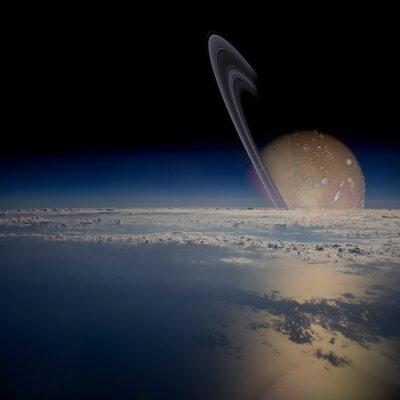 Väggdekor Utsikt från en satellit i omloppsbana runt en ringmärkt planet.