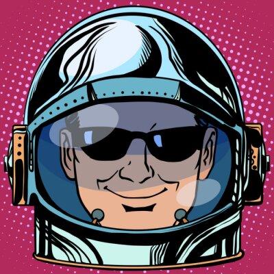 Väggdekor uttryckssymbol spy Emoji ansikte man astronaut retro