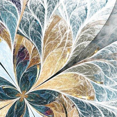 Väggdekor Vacker blomma mönster i glasmålning stil. Gul och grön palett.