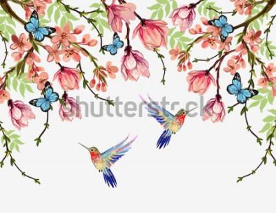 Väggdekor Vacker blommig sommarmönsterbakgrund med tropiska japanska blommor, blåsor, magnolia, fjärilar, magnolia. Perfekt för tapeter, bakgrunder på webbsidor, ytstrukturer, textil.
