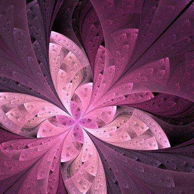 Väggdekor Vacker diagonal fractalblomma eller fjäril i målat glas
