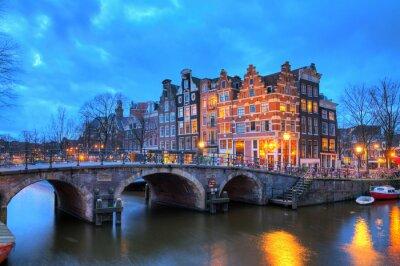 Väggdekor Vacker lång exponering HDR-bild av den Brouwersgracht i Amsterdam, Nederländerna, en Unescos världsarv.
