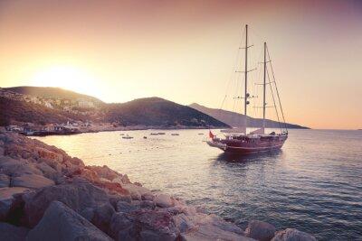 Väggdekor vacker marinmålning med stora segelbåtar